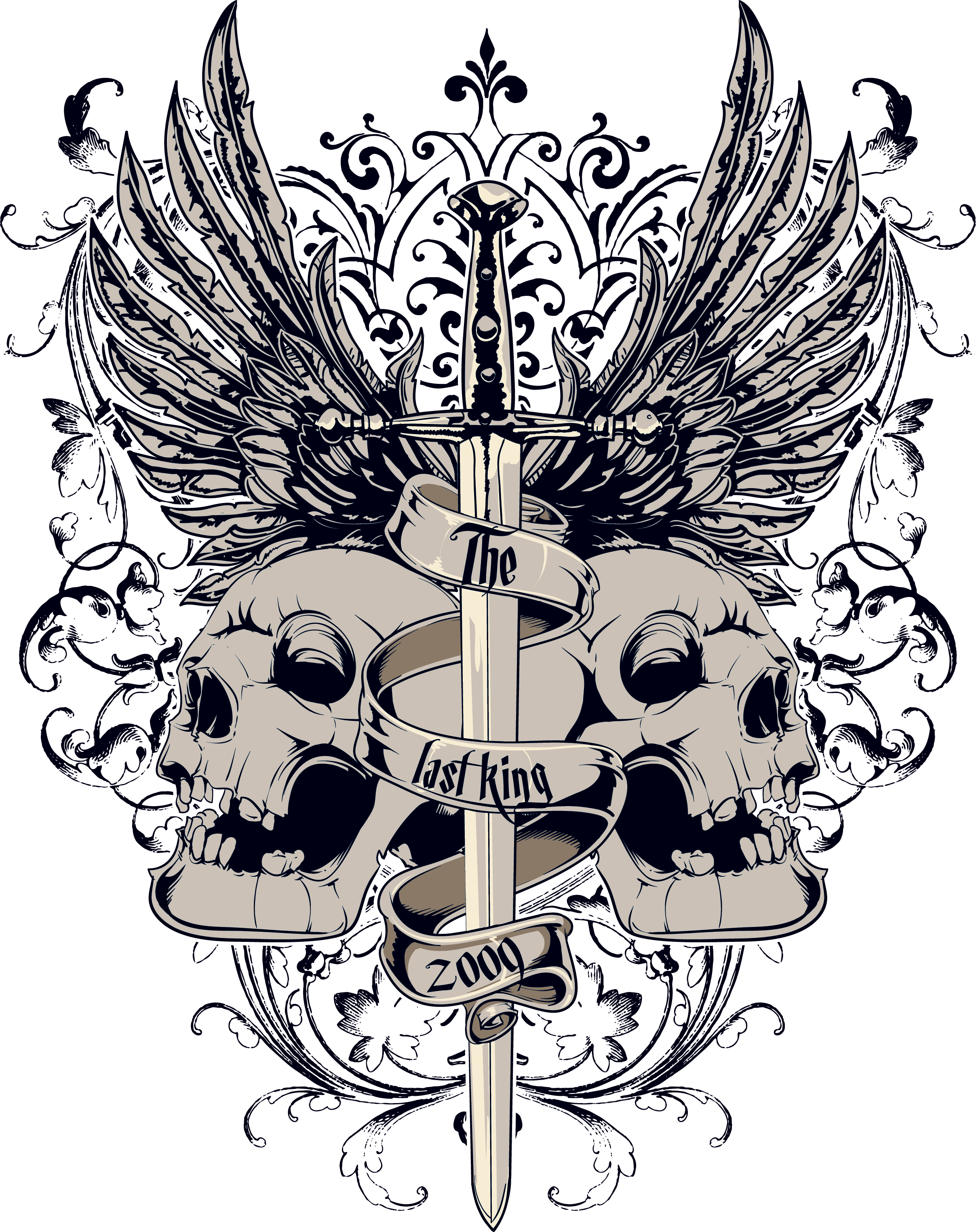T-Shirt And Skull Sword PNG Free Photo PNG Image