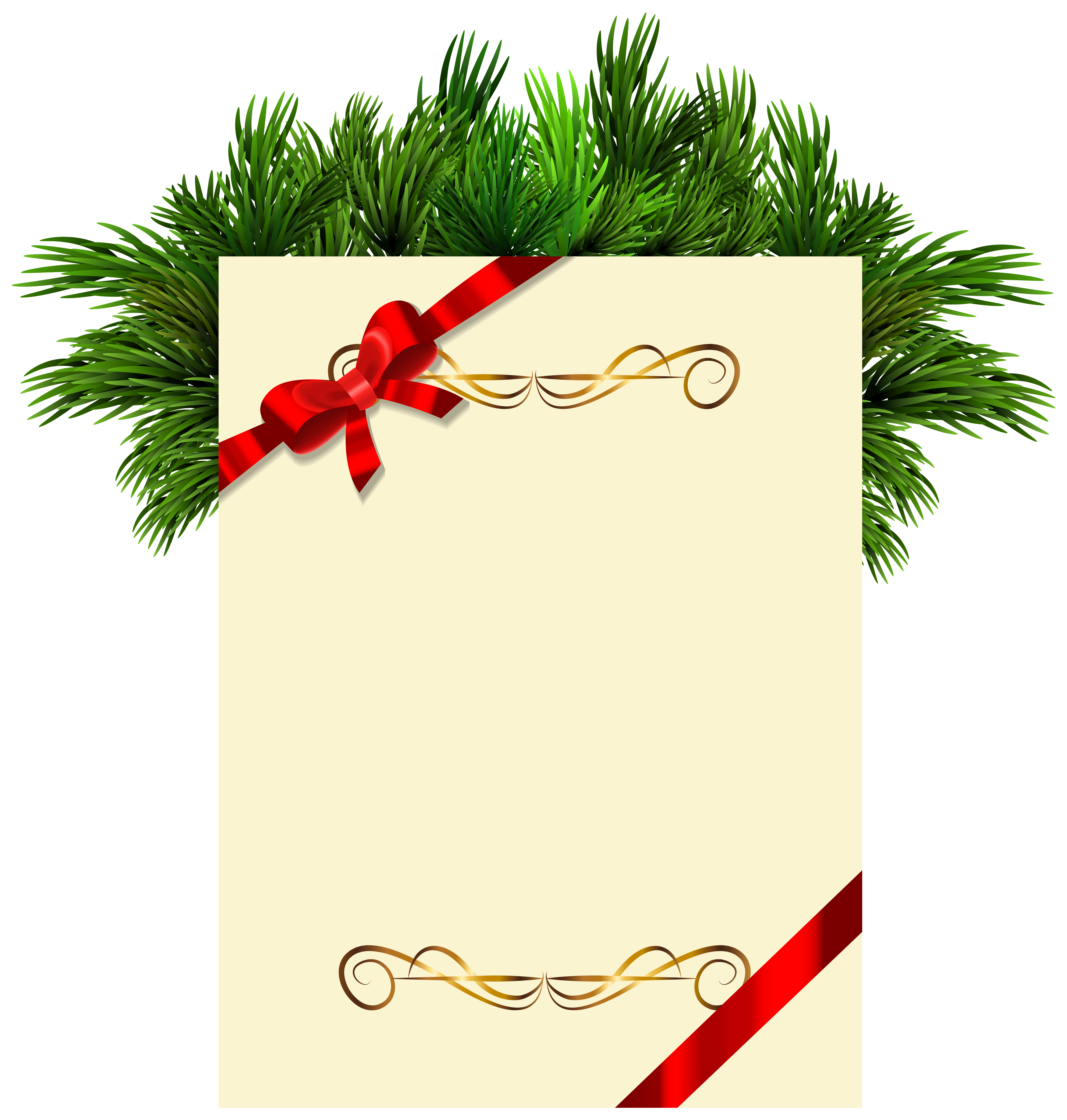 Picture Branches Claus Pine Invitation Santa Blank PNG Image
