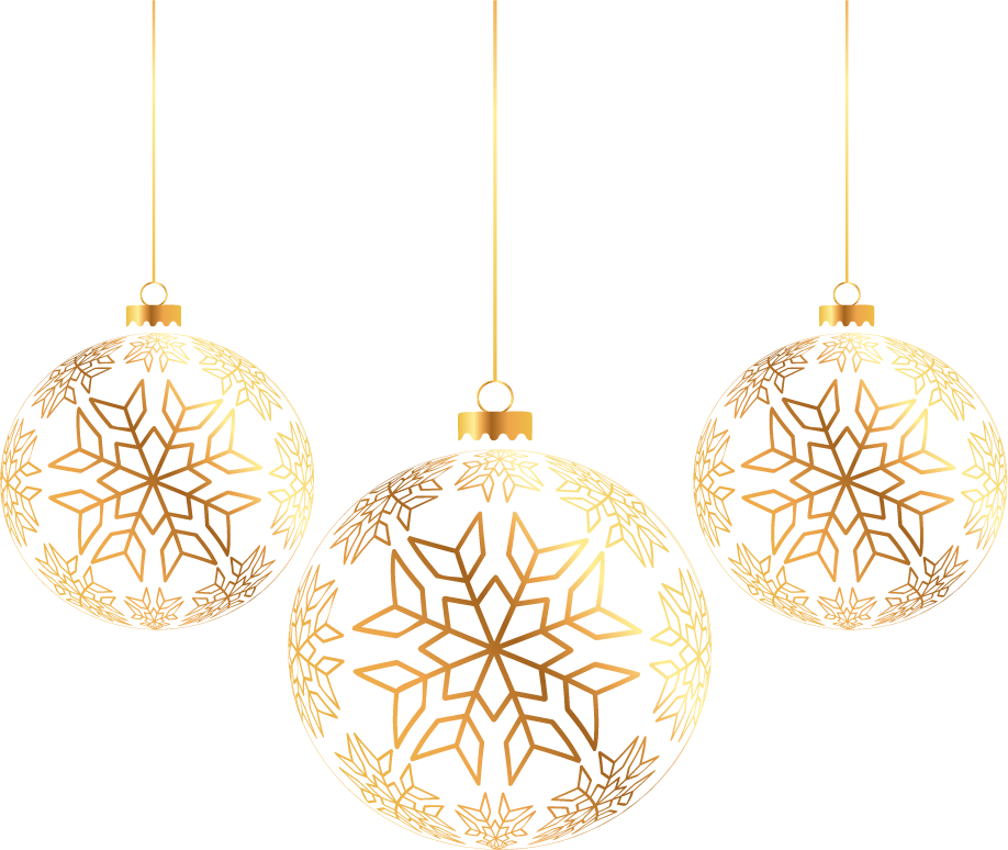 Golden Balls Ornament Tree Three Christmas PNG Image