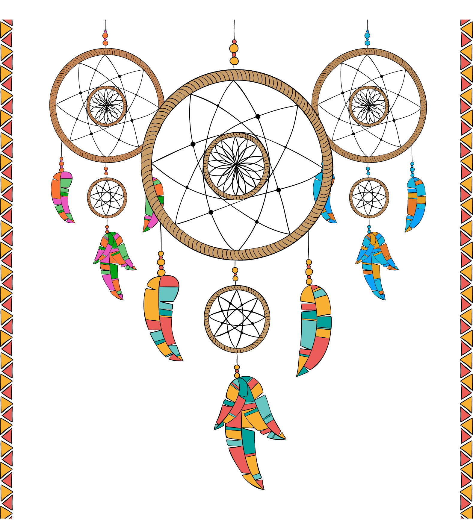 Hamsa Painted Dreamcatcher Three Vector Drawing PNG Image