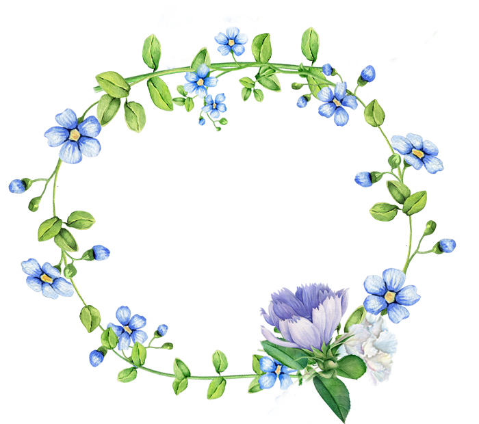 Blue Flowers Border Wreath PNG File HD PNG Image