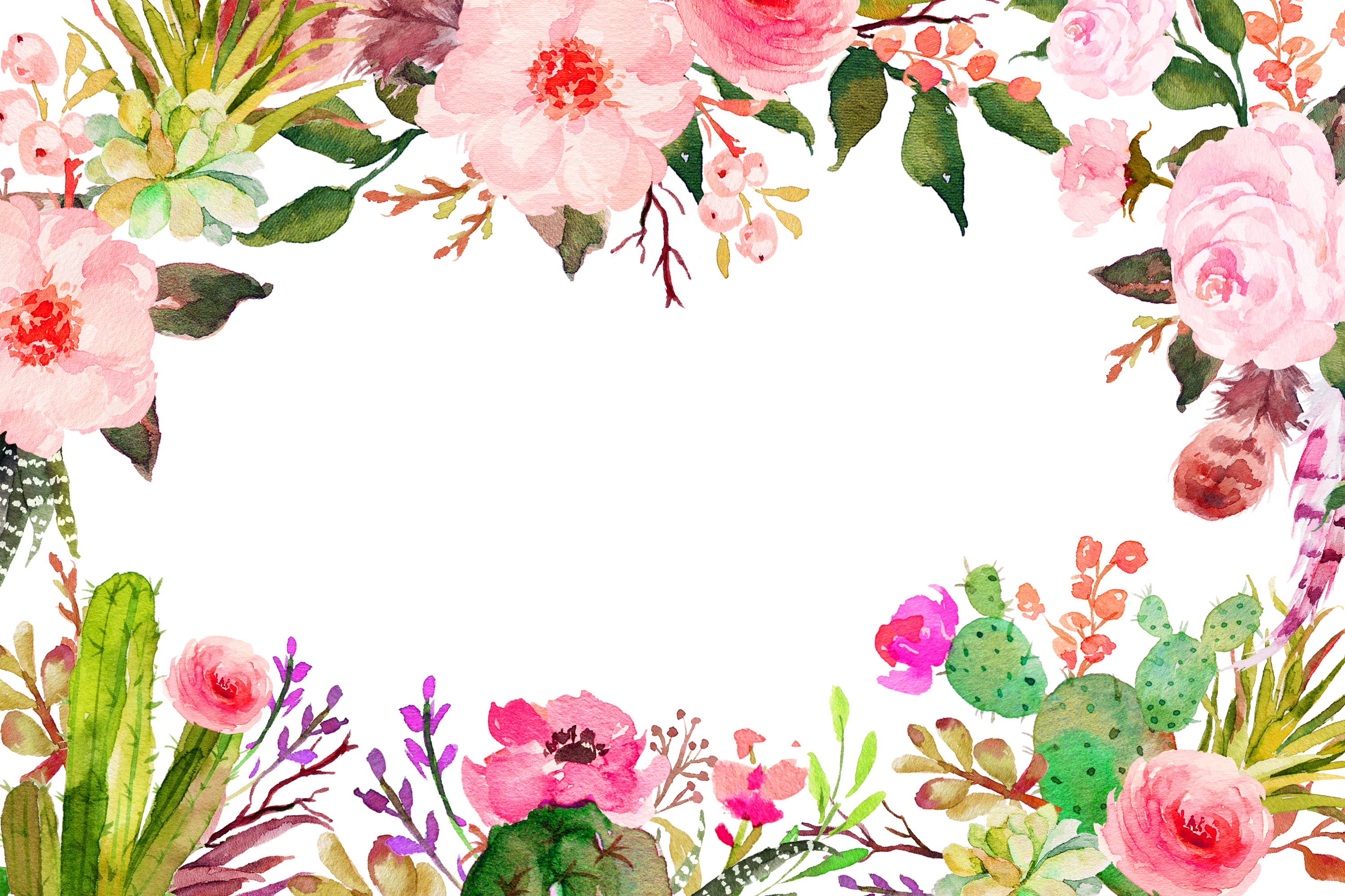 Watercolor Pink Plant Flower Painting Free PNG HQ PNG Image