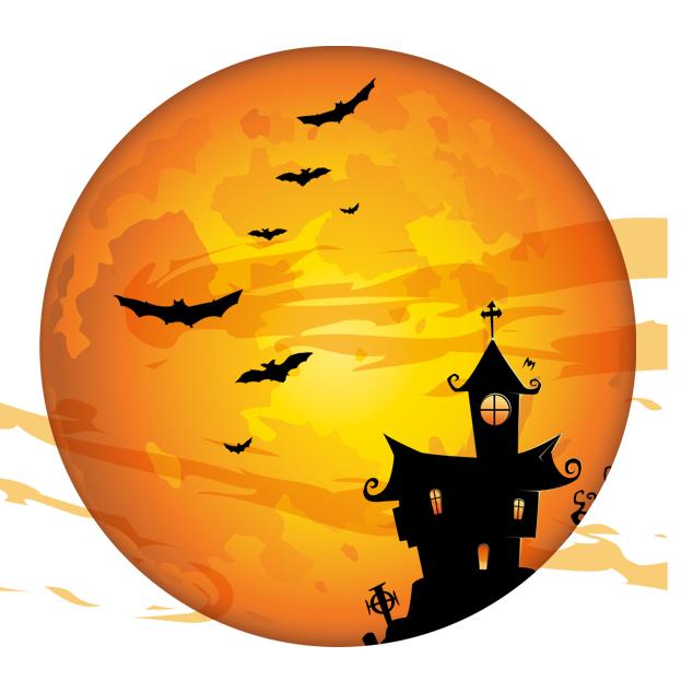 Full Halloween Moon Trick-Or-Treating Costume Party Holiday PNG Image
