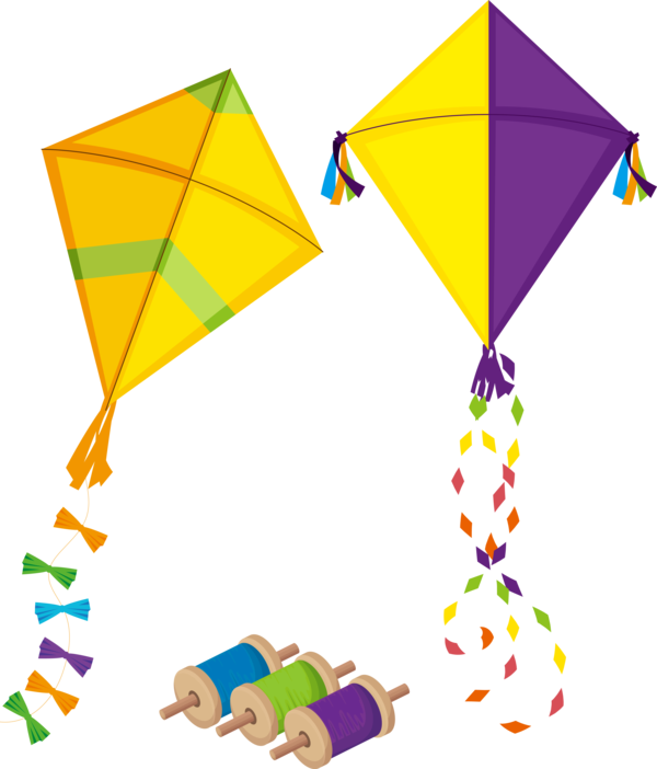 Makar Sankranti Line Kite Triangle For Flying Lights PNG Image