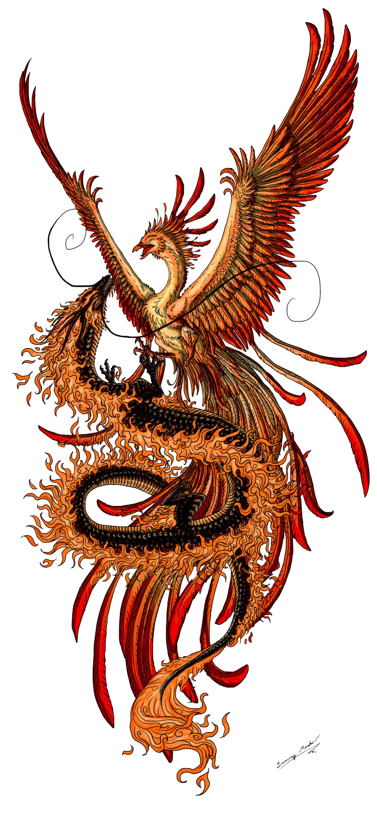 Tattoo Phoenix Chinese Tattoos Dragon Fenghuang Images PNG Image