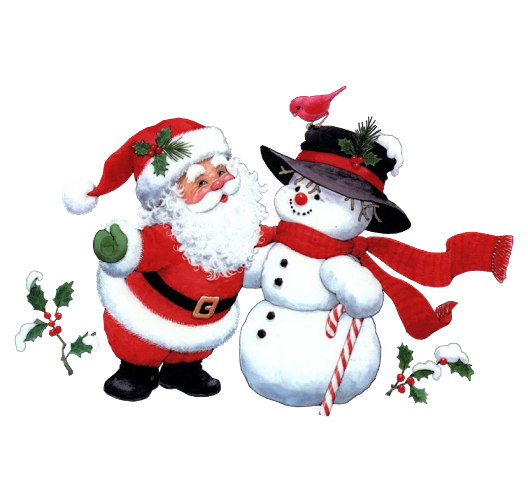Snowman And Claus Christmas Santa Free HD Image PNG Image