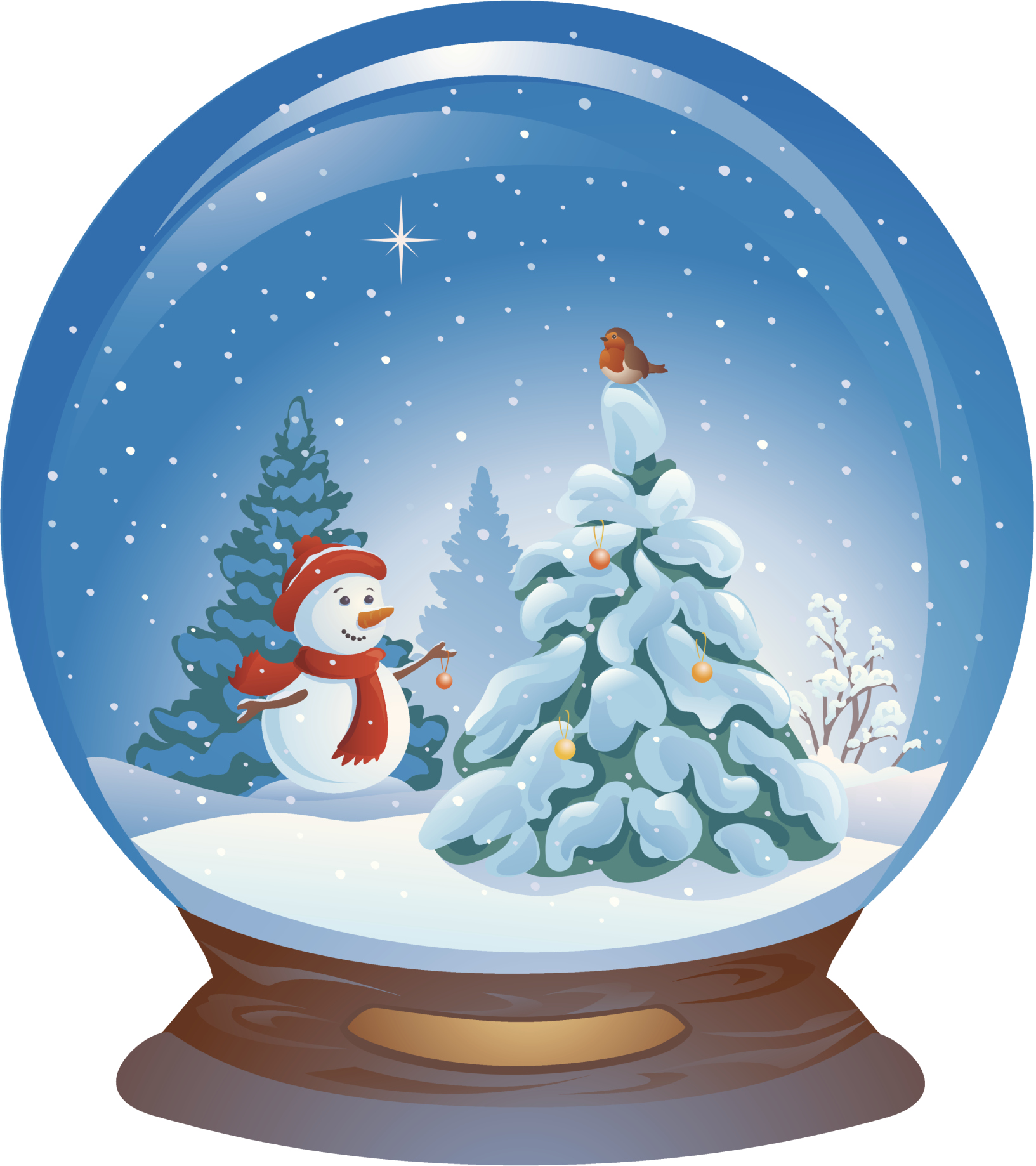 Snowman Blue Ball Claus Illustration Crystal Santa PNG Image