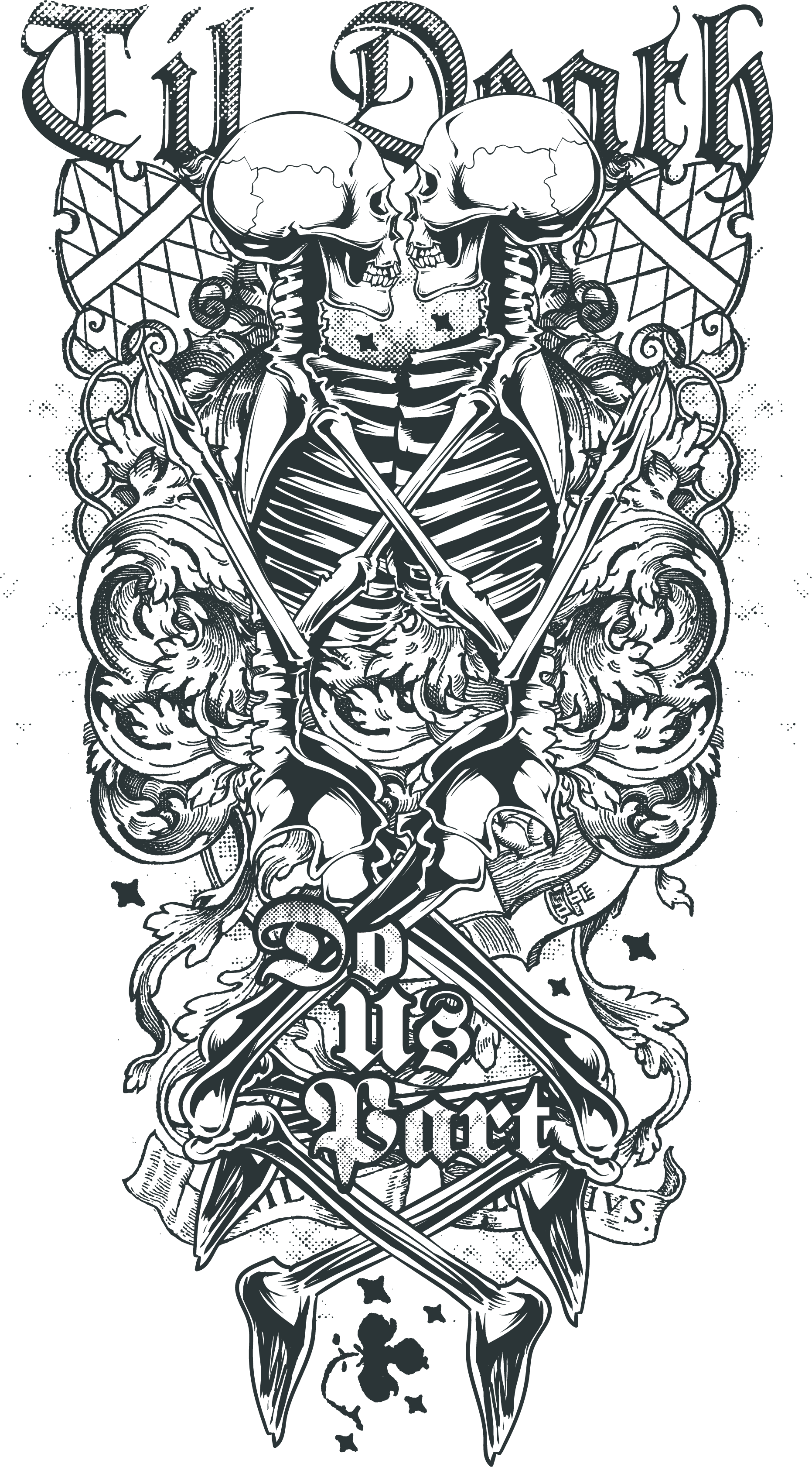 Tattoo Death Skull Sleeve Depending Of Abziehtattoo PNG Image