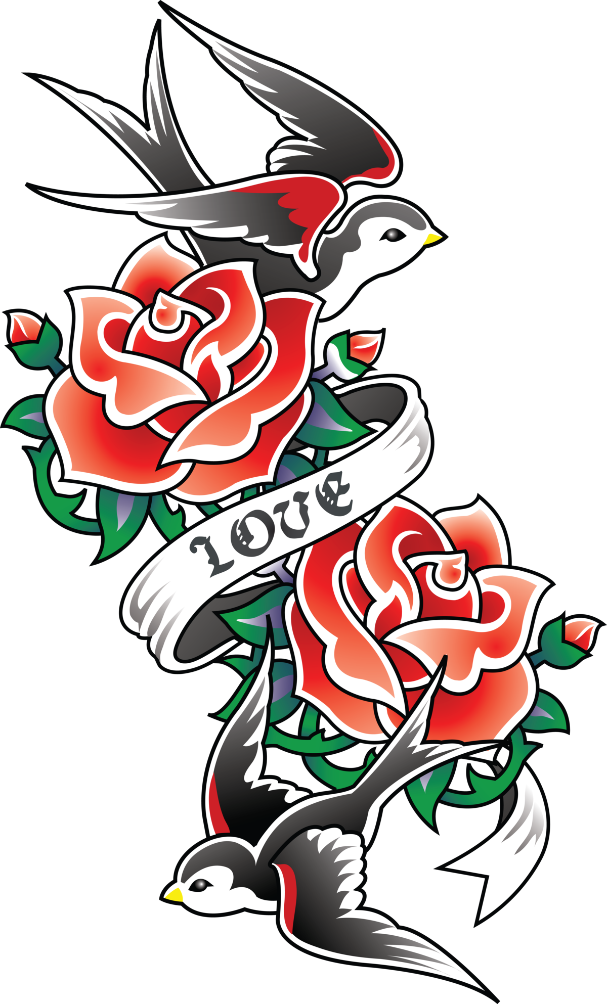 Tattoo School Old Sleeve Rose (Tattoo) Swallow PNG Image