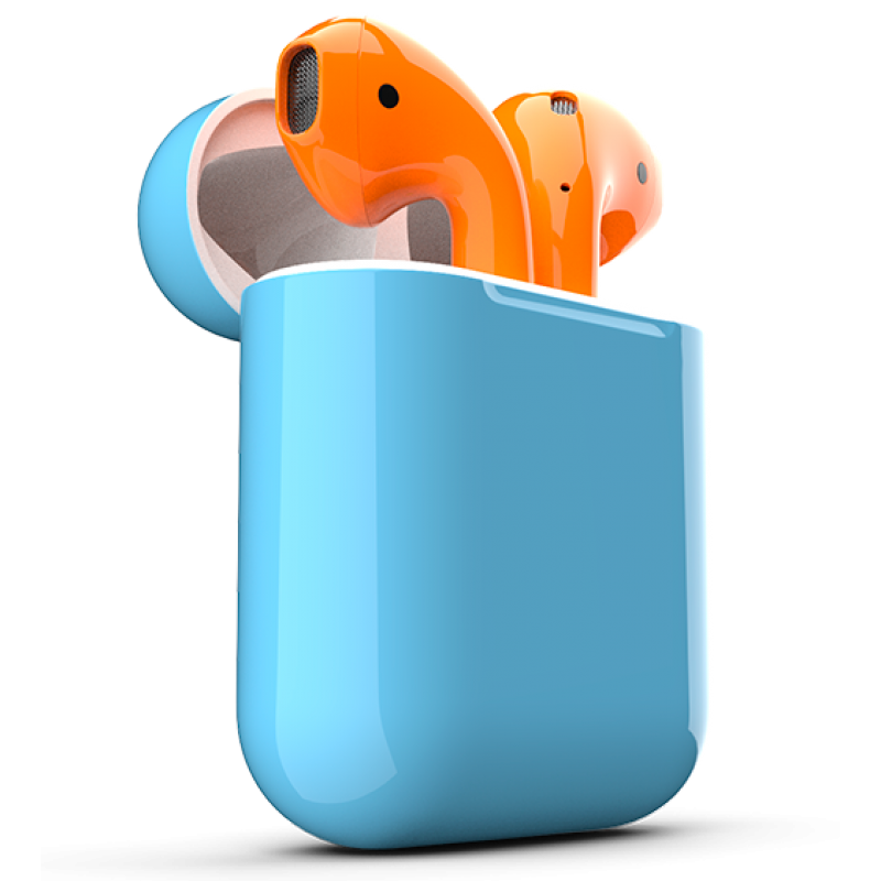 Airpods Apple Headphones Orange Earbuds Technology PNG Image