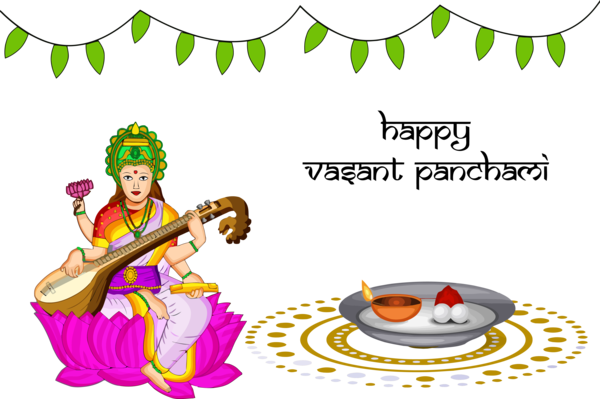 Vasant Panchami Cartoon Indian Musical Instruments For Happy Gifts PNG Image