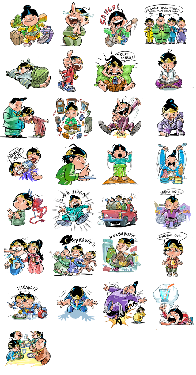 Telegram Sticker Indonesia Slide Up: Line Puzzle PNG Image