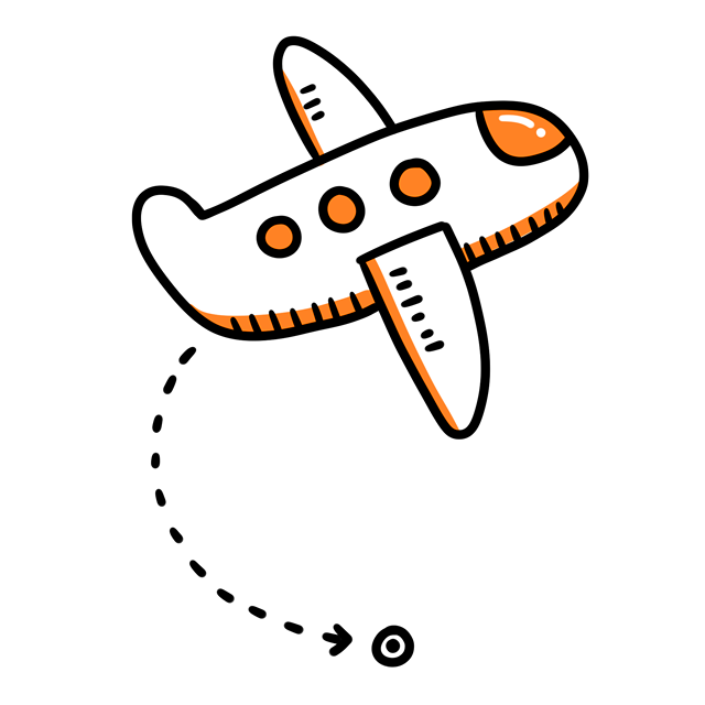 Simple Pattern Decoration Plane Orange Airplane Cartoon PNG Image