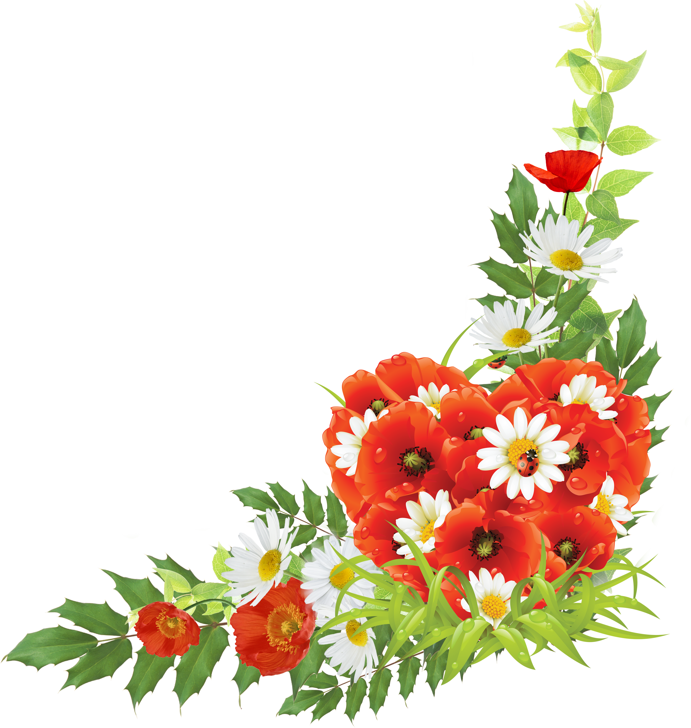 Corner Android Flowers Free Frame PNG Image
