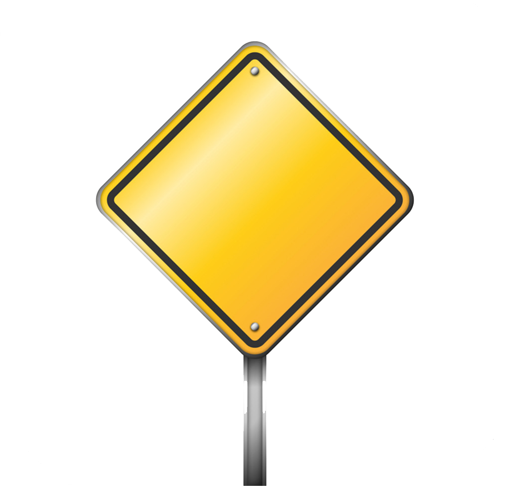 Signs Yellow Sign Warning Traffic Blank Road PNG Image