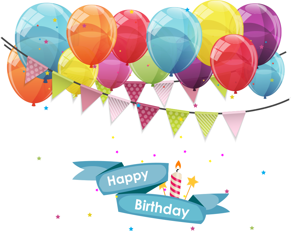 Gift Balloon Greeting Birthday Vector Flags Card PNG Image
