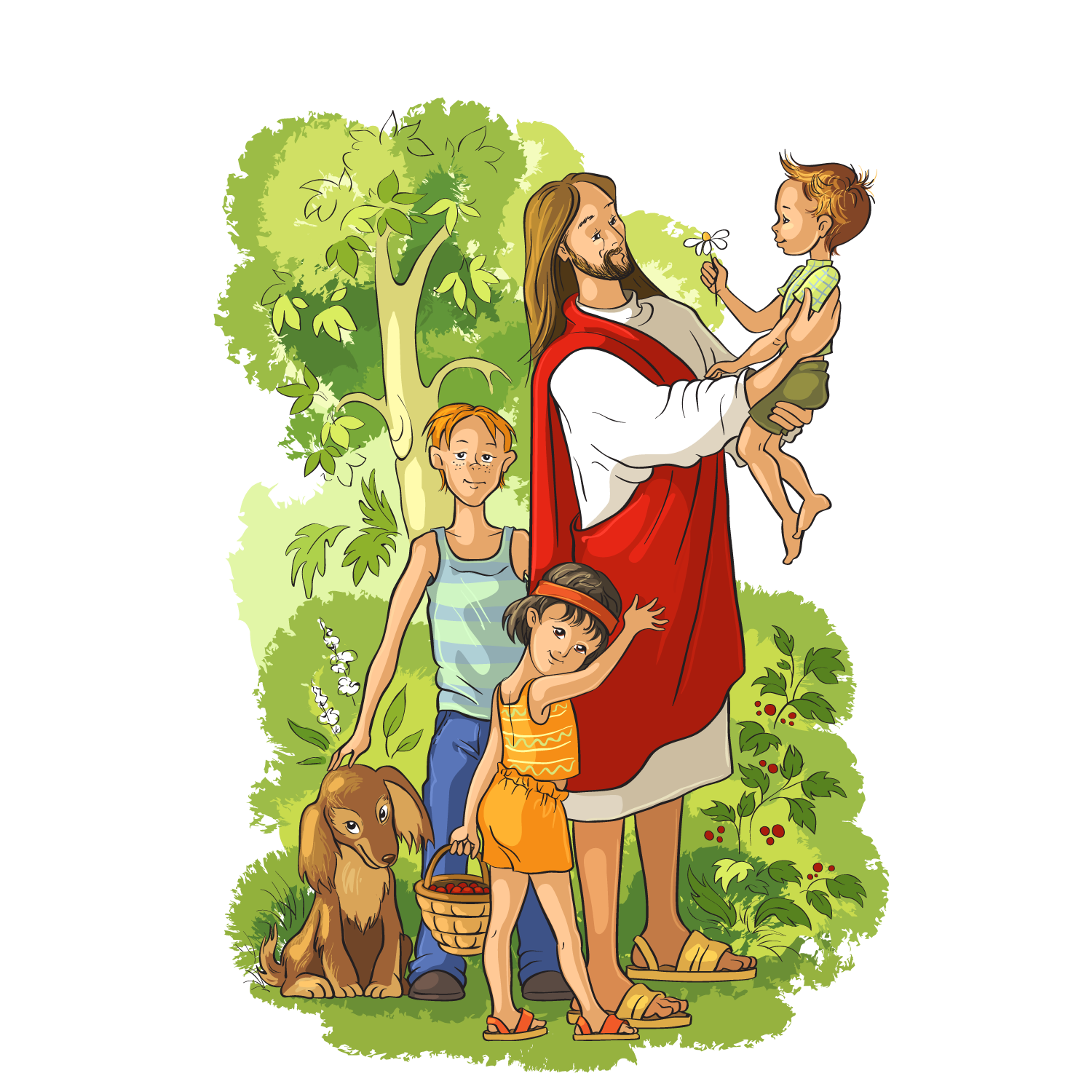 Bible Resurrected Illustration Jesus Vector Holding Child PNG Image