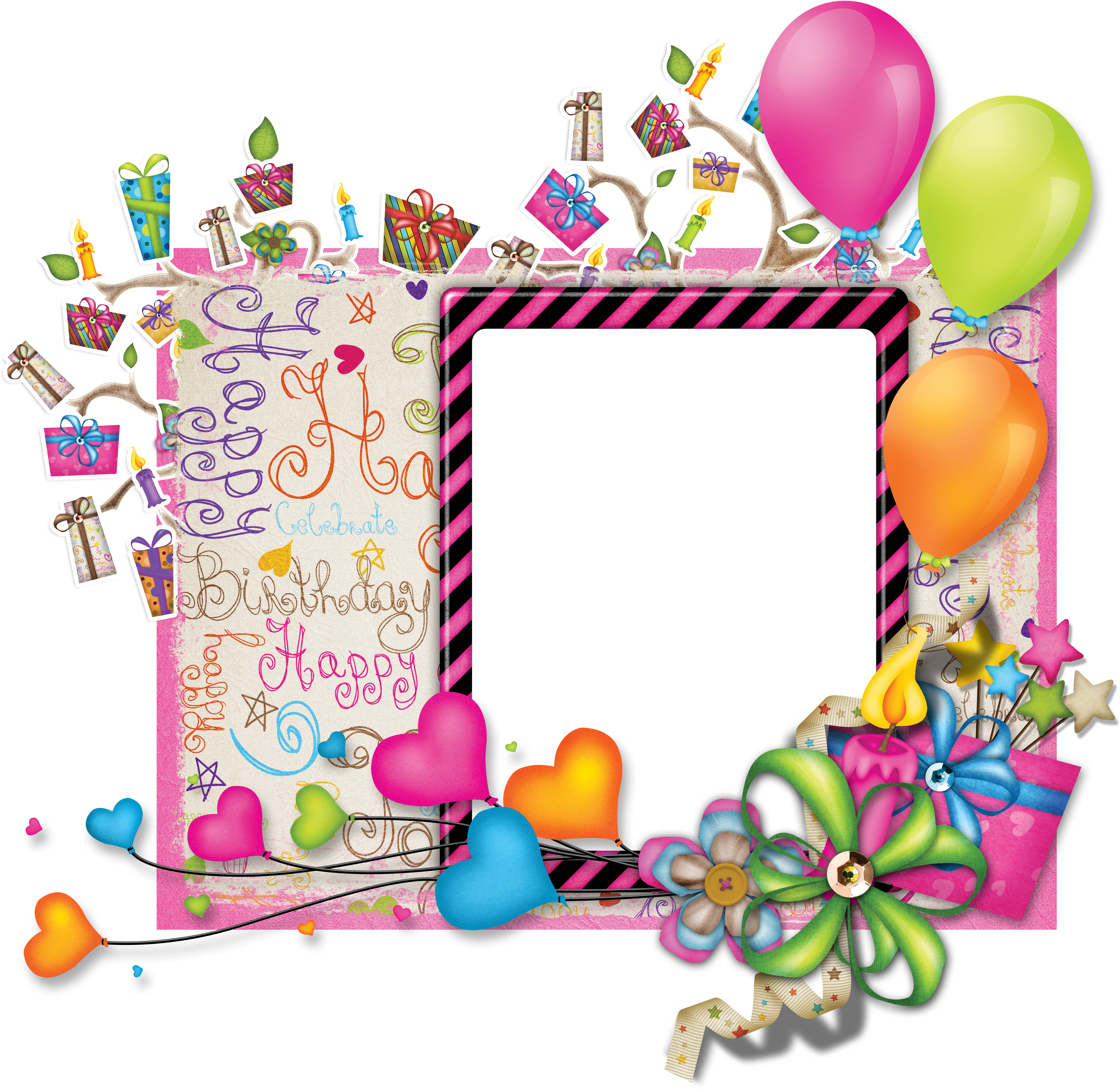 Cake Picture Frame Birthday Free Photo PNG PNG Image