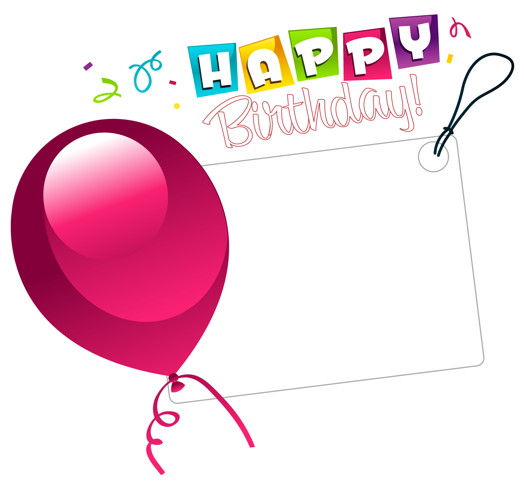 Pink Wish Sticker Balloon Birthday With Transparent PNG Image
