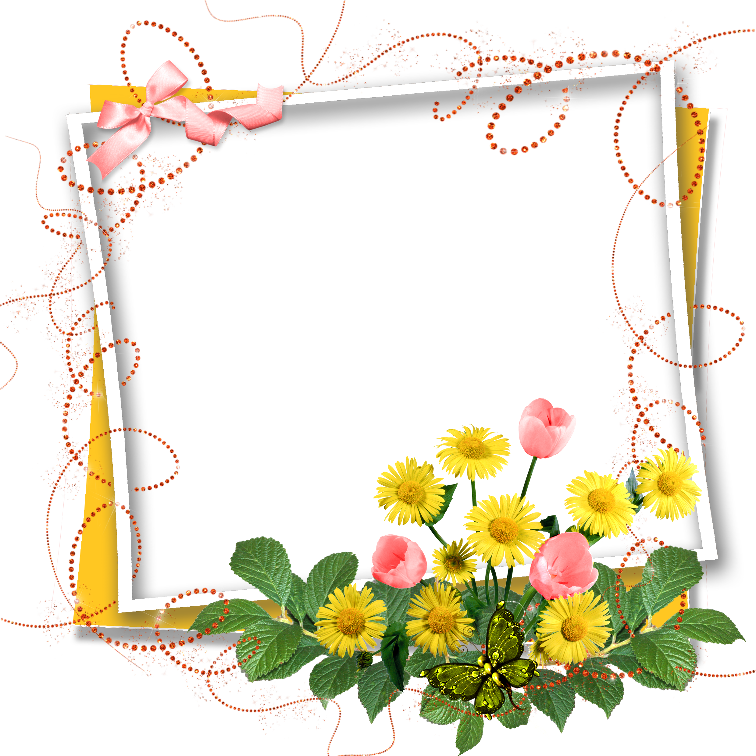 Flower Frame Greeting Note Birthday Cards PNG Image