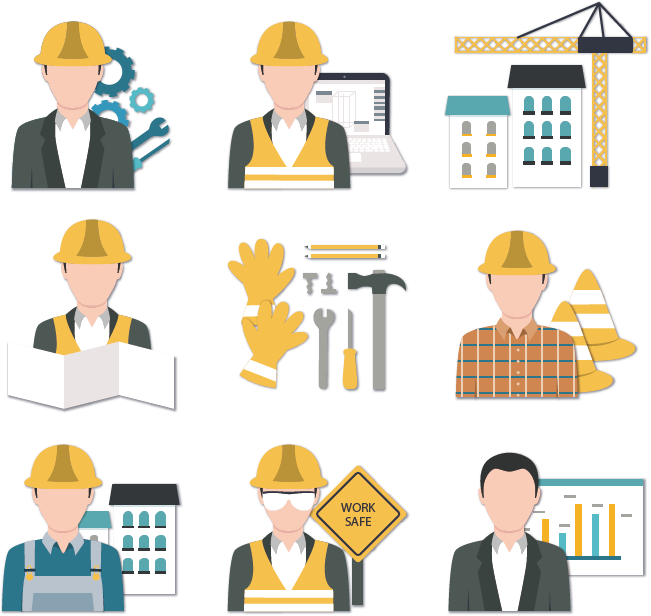 Vector Icons Workers Worker Engineering Construction Architectural PNG Image