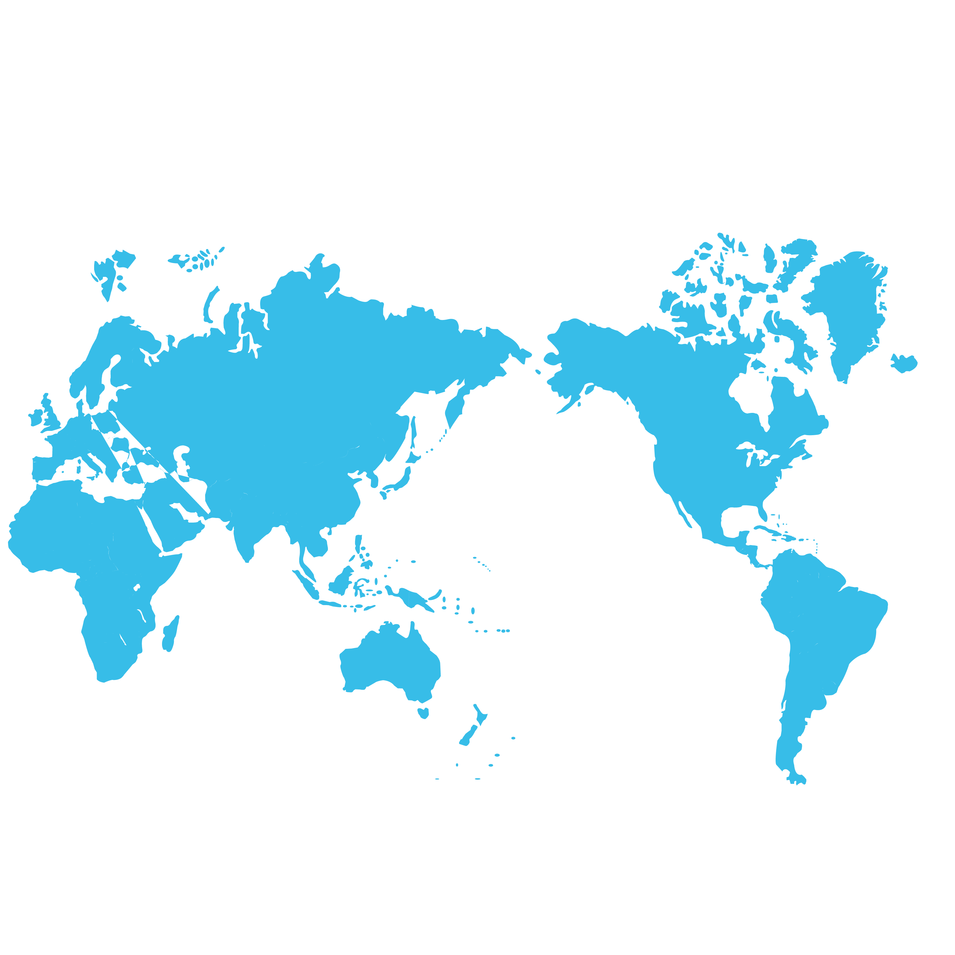 Blue Map Projection Miller Cylindrical World PNG Image