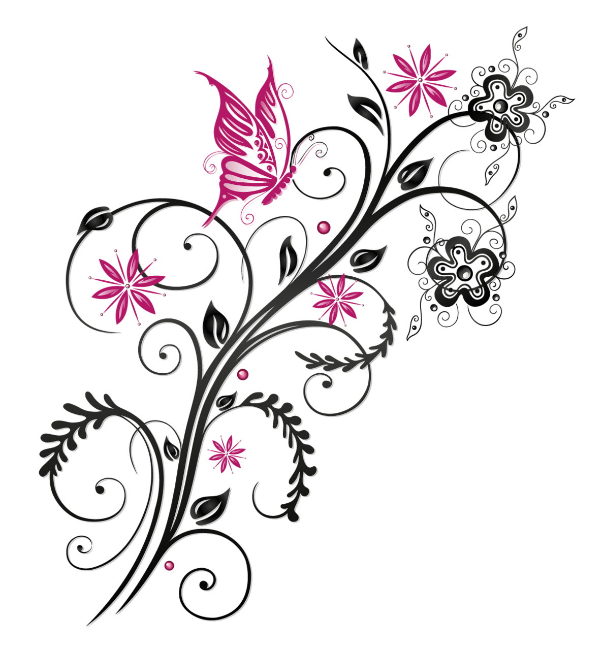 Butterfly Floral Flower Ornament PNG Download Free PNG Image