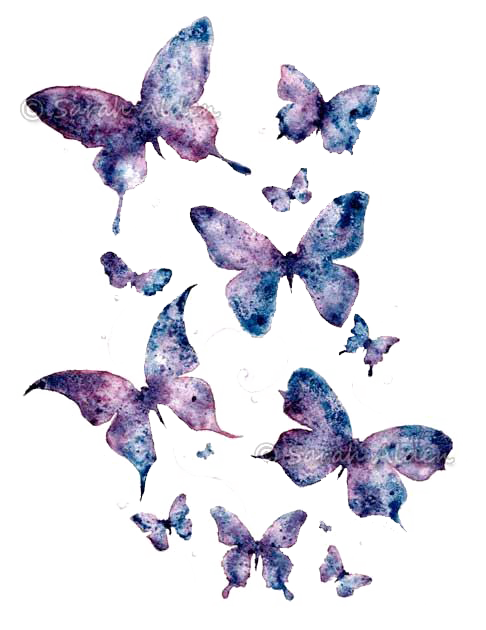 Butterfly Art Purple Watercolor Paper Painting PNG Image