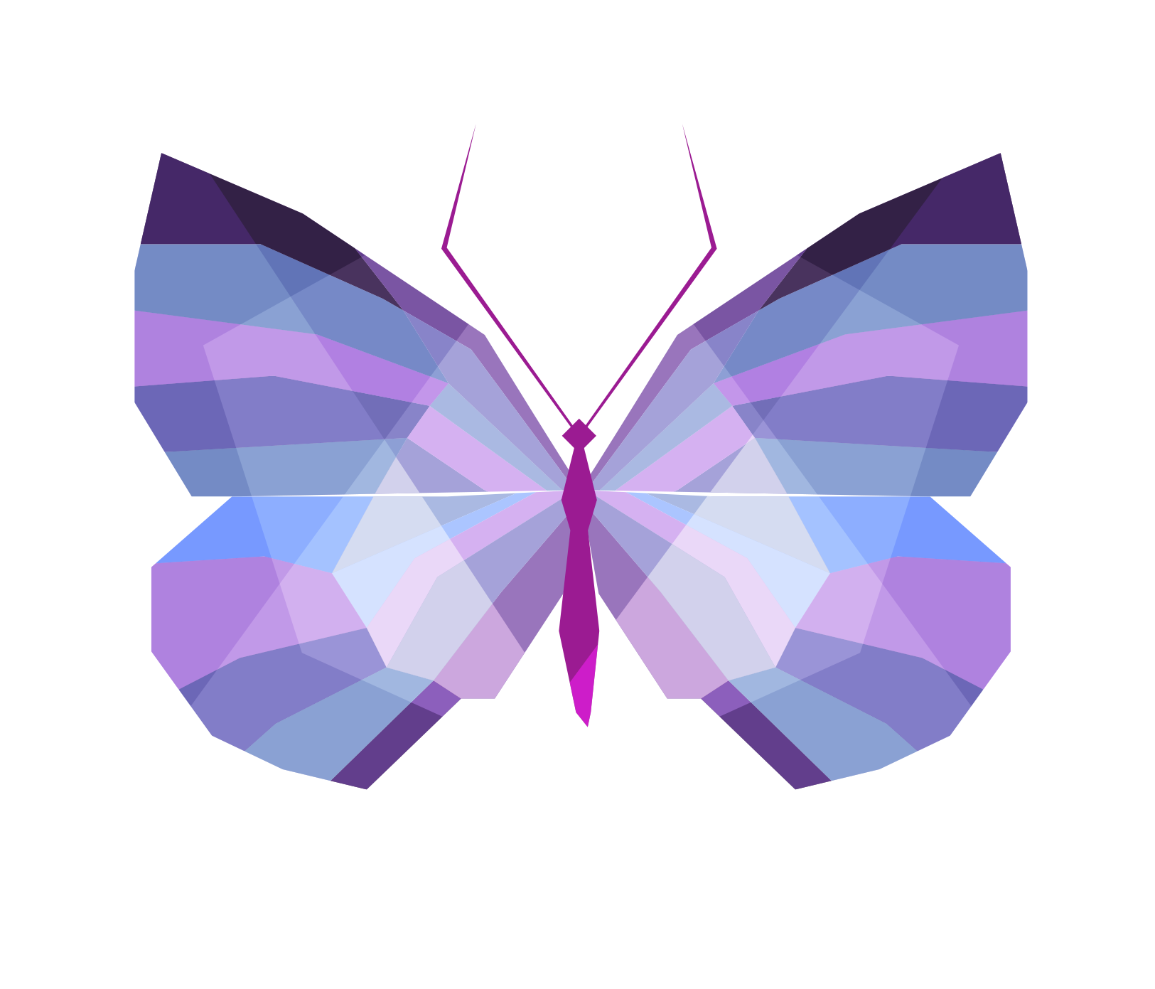 Butterfly Lilac Geometry Color Vector Graphics Drawing PNG Image