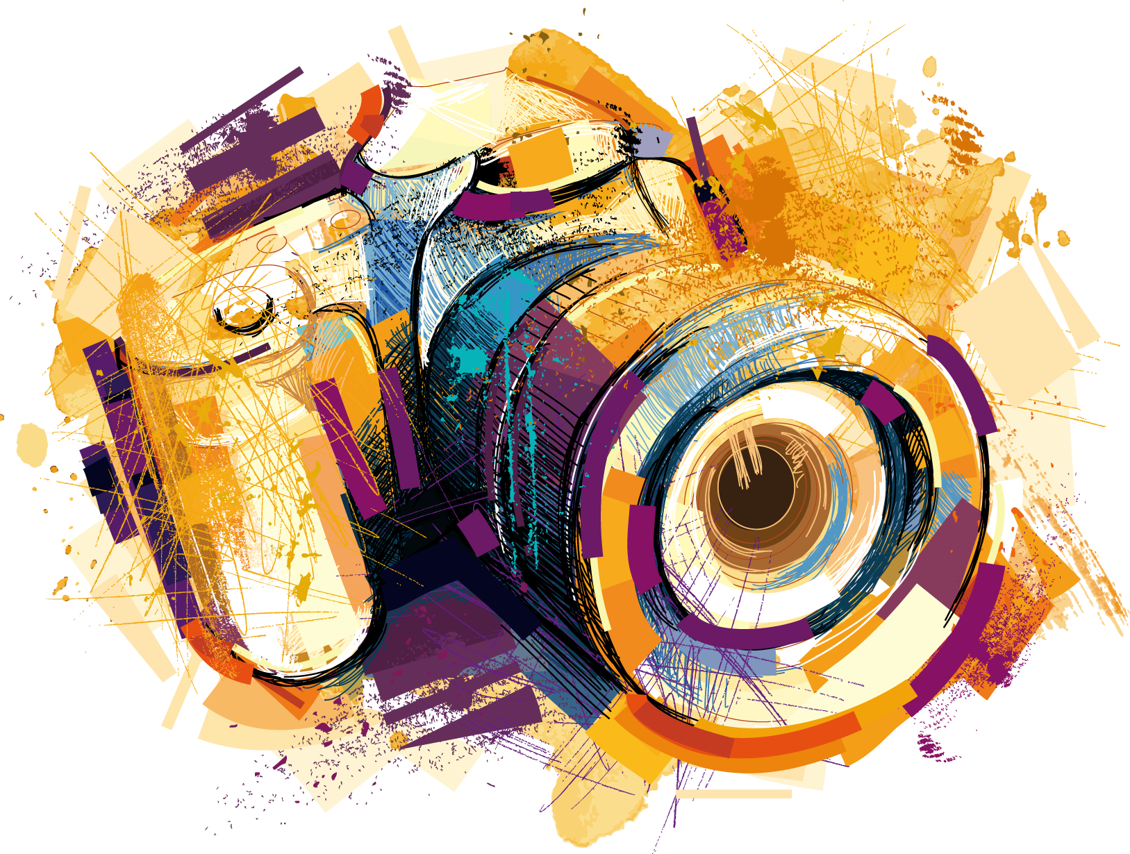 Camera Photography Watercolor Vector Effects Drawing PNG Image