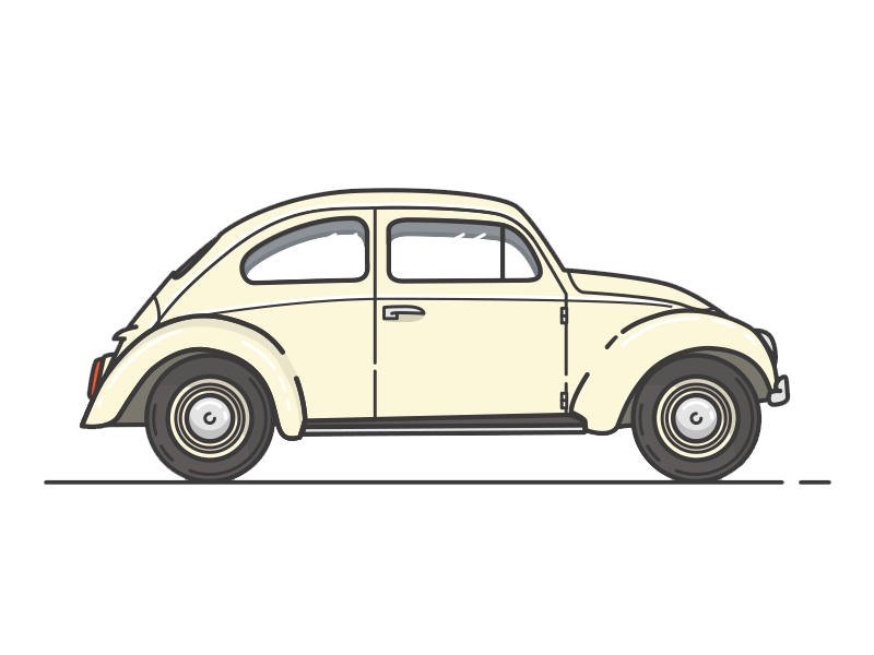 Vintage Classic Car Beetle Volkswagen View Vehicle PNG Image