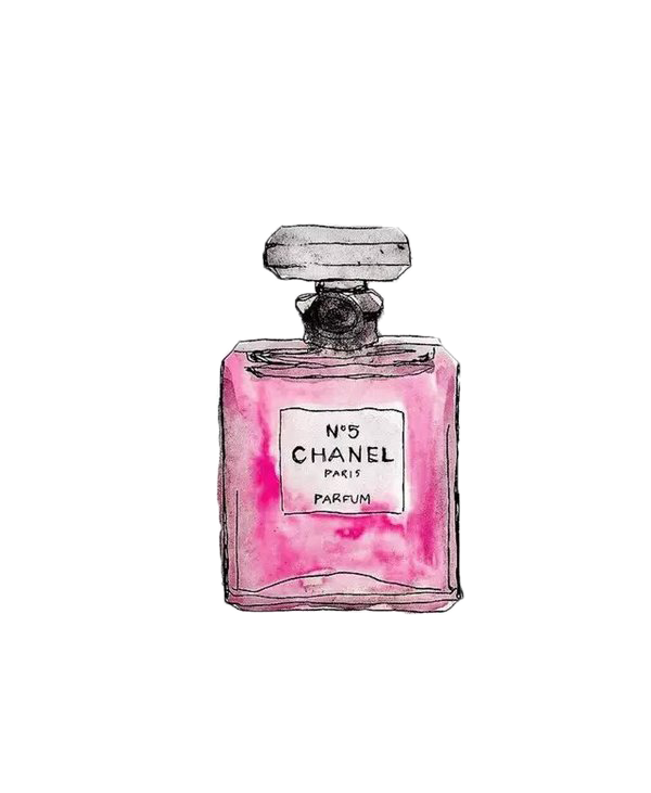 Pink Mademoiselle No. Painted Perfume Coco Chanel PNG Image