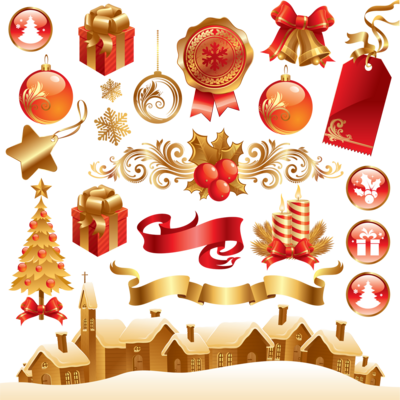 Christmas Elements Transparent Background PNG Image