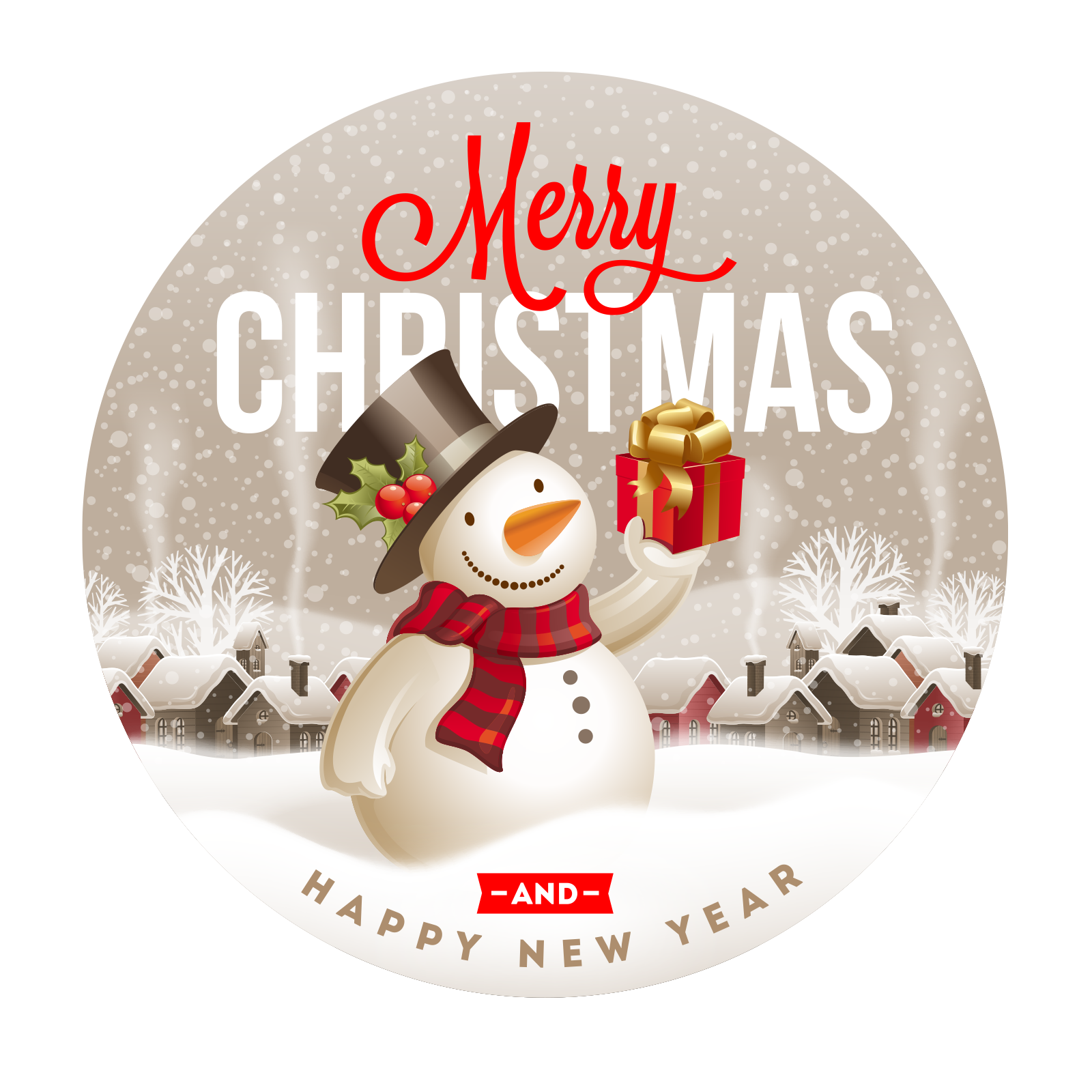 Snowman Cute Claus Label Santa Year Christmas PNG Image