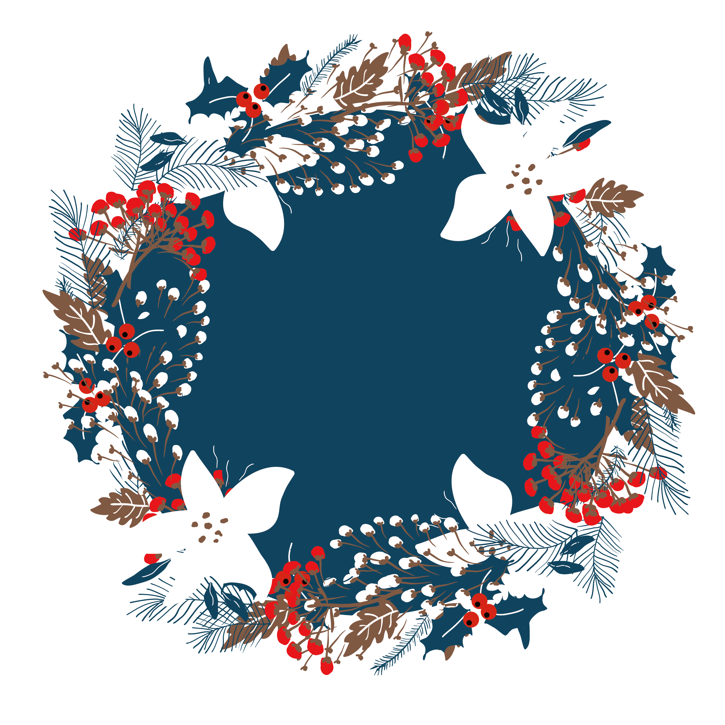 Beautiful Wreath Illustration Vector Border Christmas PNG Image