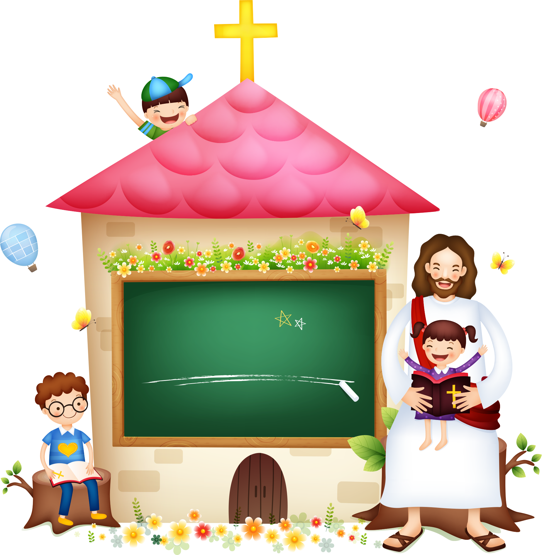 Bible Illustration Jesus Religion Christianity With Children PNG Image