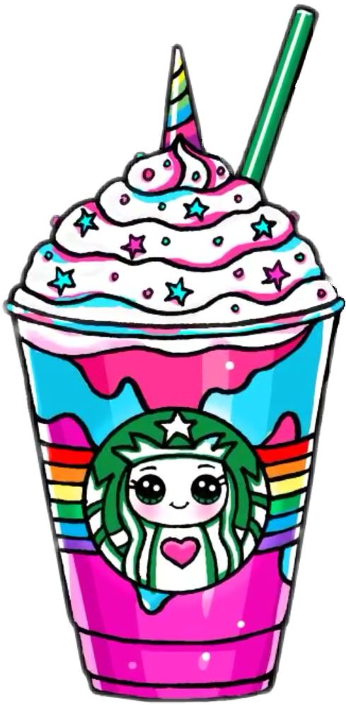 Kawaii Cuisine Coffee Frappuccino Japanese Starbucks Unicorn PNG Image