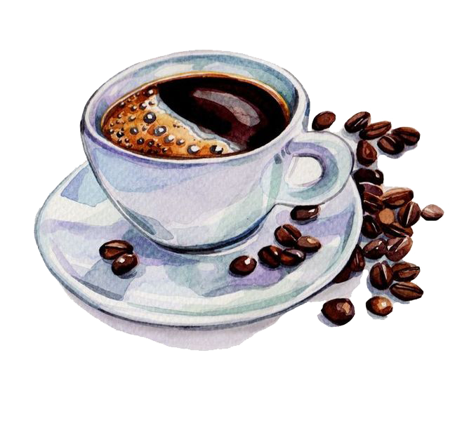 And Coffee Tea Watercolor Beans Cafe Painting PNG Image