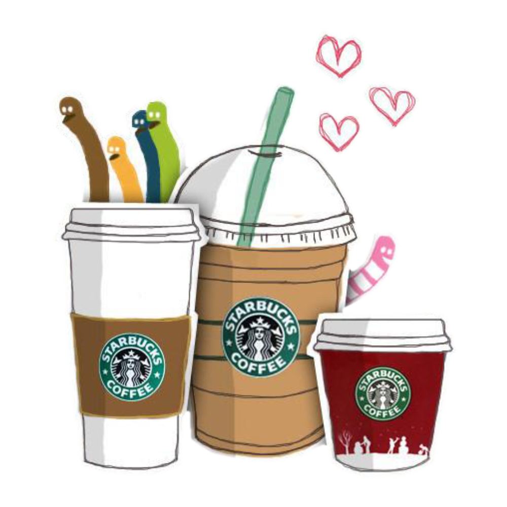 Coffee Iced Tea Starbucks Cafe Hand-Painted PNG Image