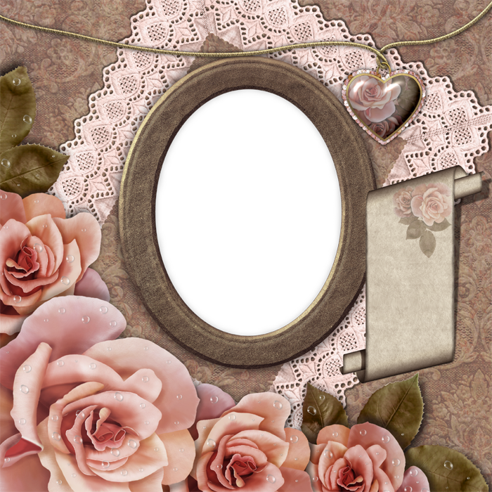 Pink Picture Flower Collage Frame Decoupage Mounted PNG Image
