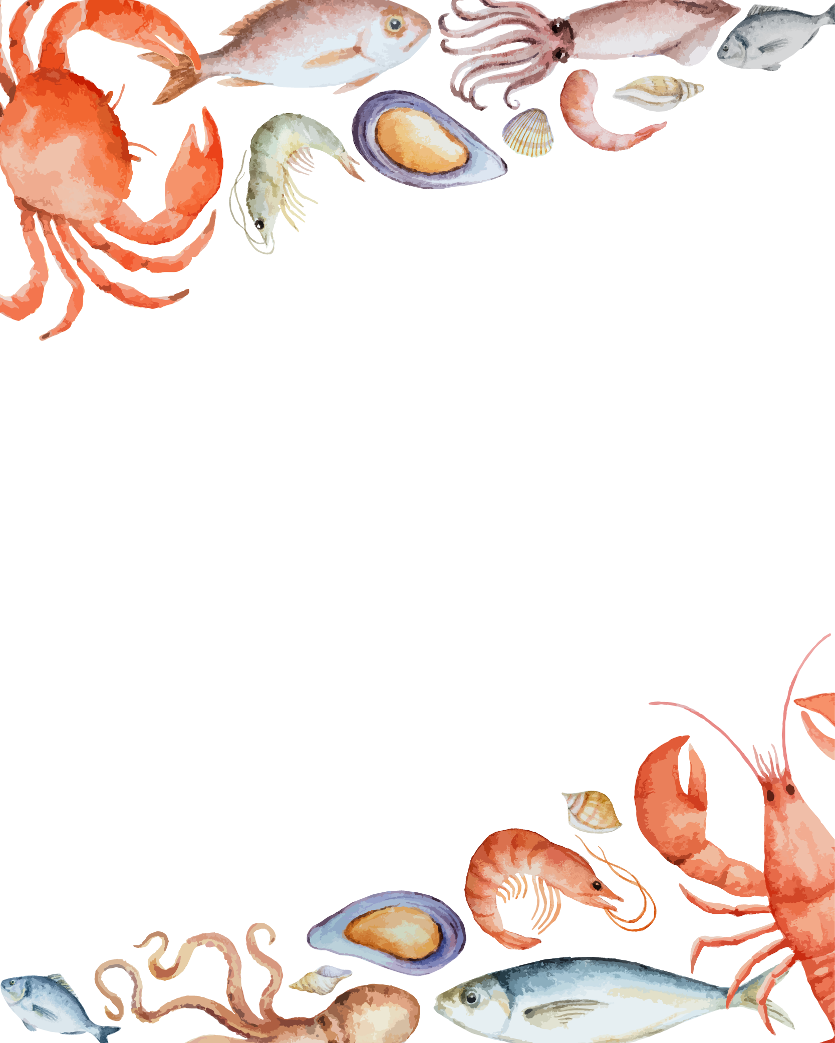 Seafood Vector Border Crab PNG Free Photo PNG Image