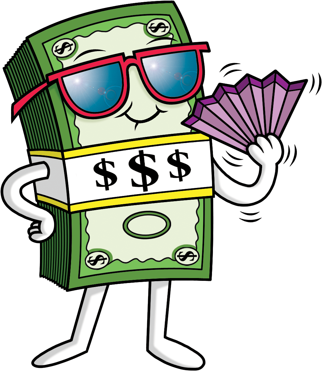 Whimsical Dollar Illustration Cartoon Ecommerce Glasses PNG Image