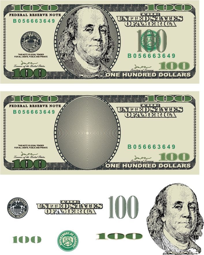 United Bill Dollar One-Dollar One States Vector PNG Image