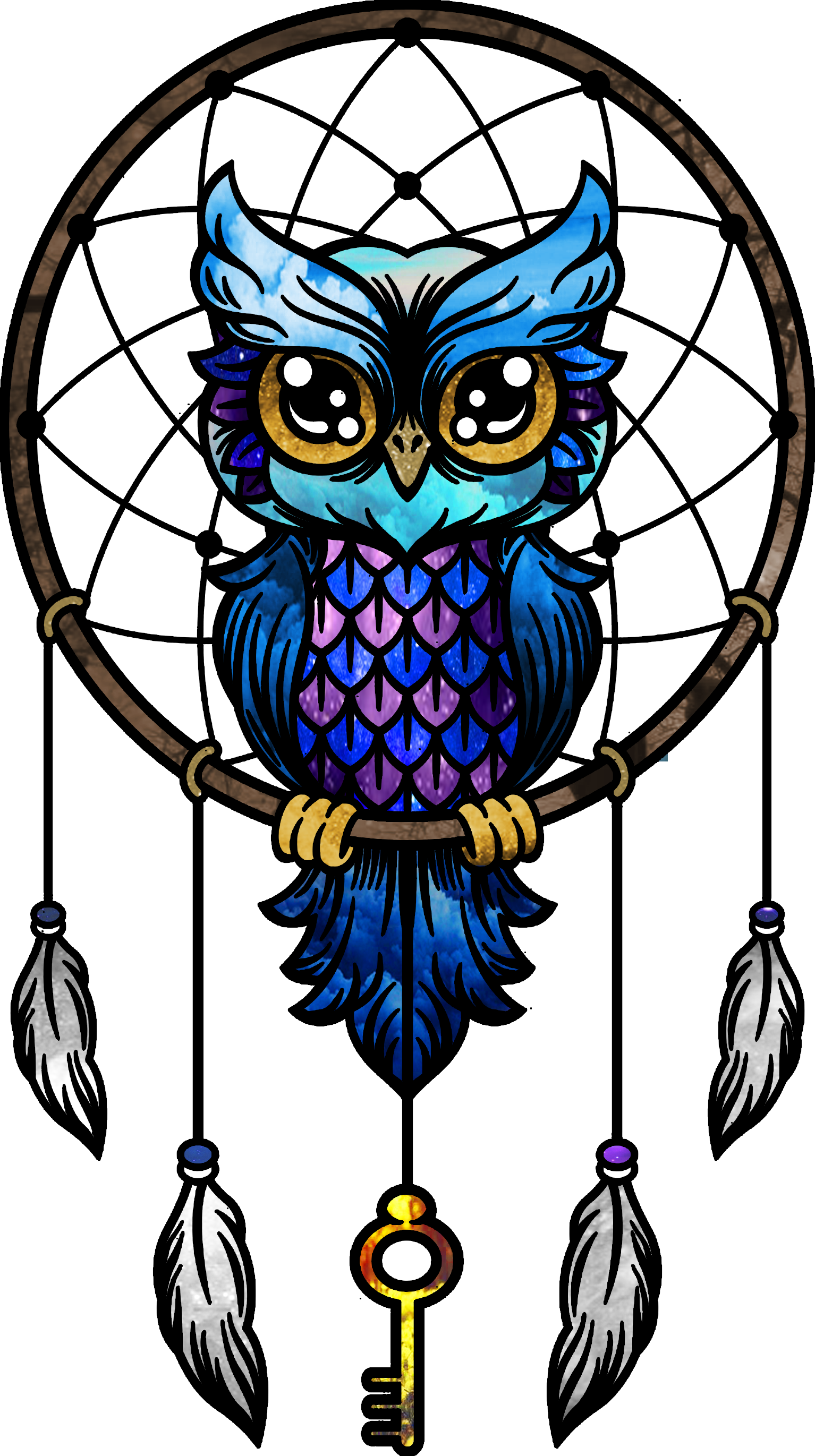 Owl Little Paper Drawing Dreamcatcher Download HQ PNG PNG Image