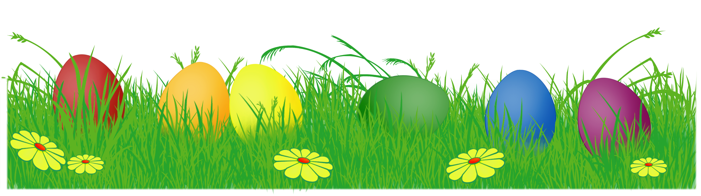 Easter Eggs In Grass PNG Image