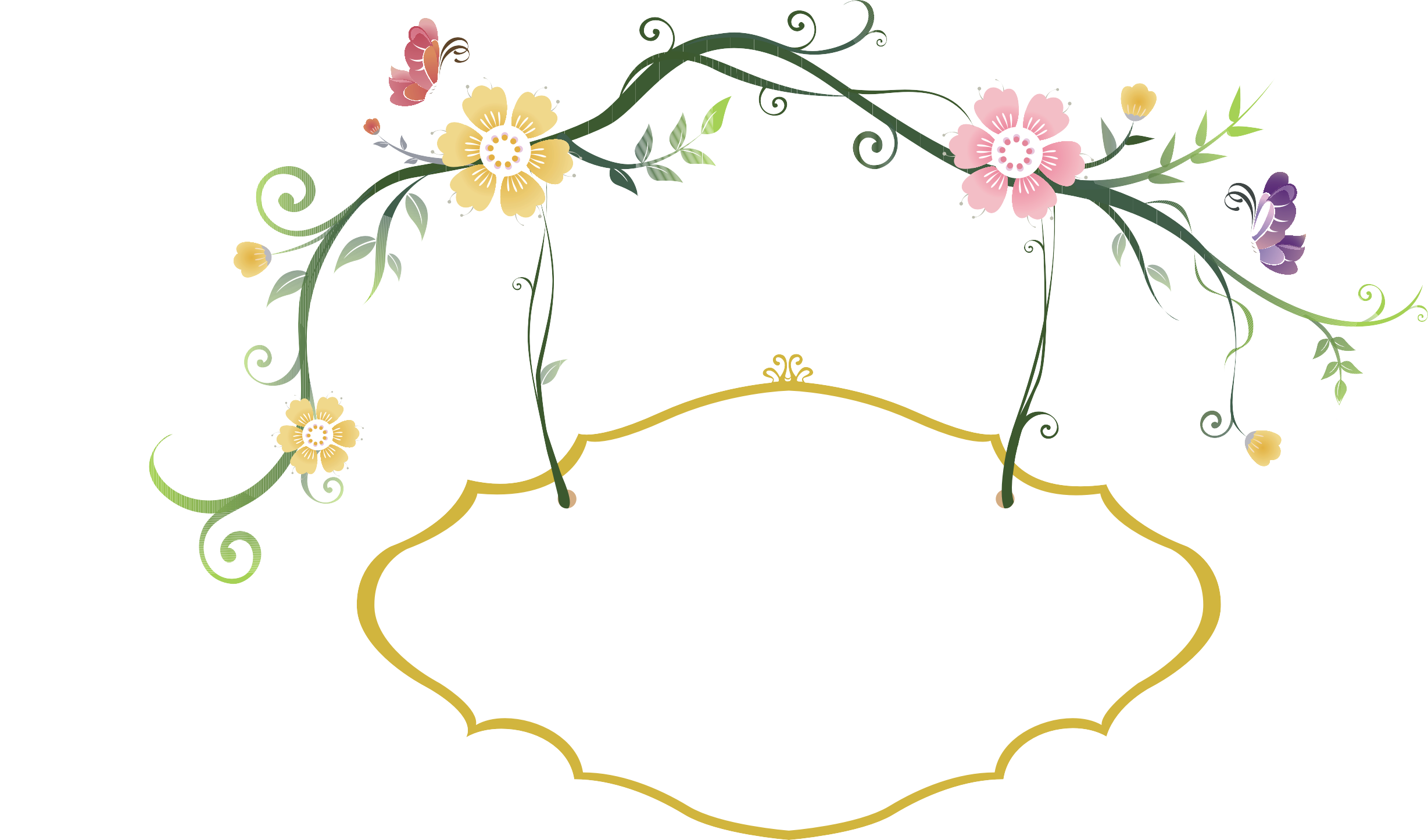 Eating Hashtag Fresh Flowers Border Hand-Painted PNG Image