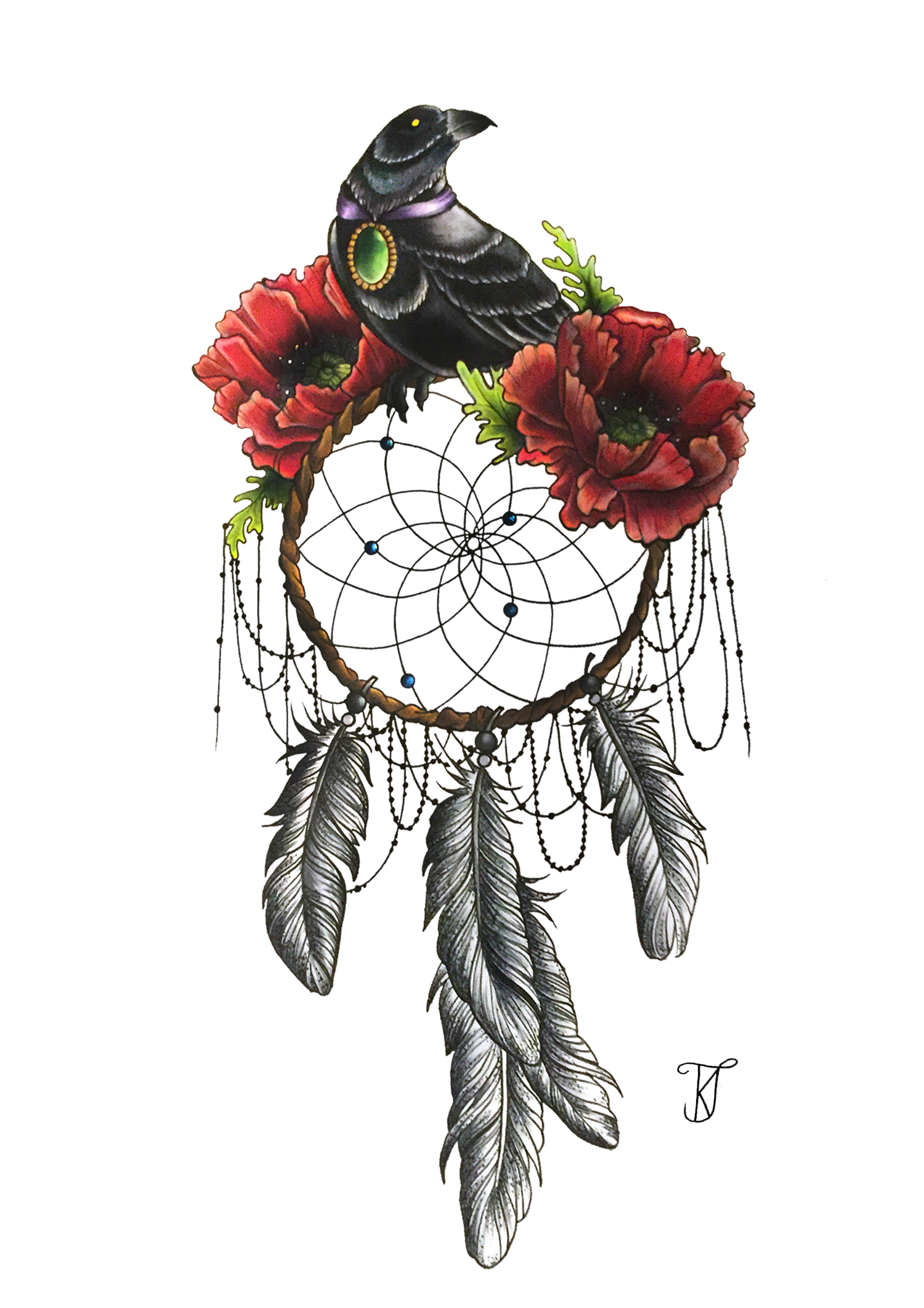 Tattoo Flower Poppy Bird Dreamcatcher Free Clipart HQ PNG Image