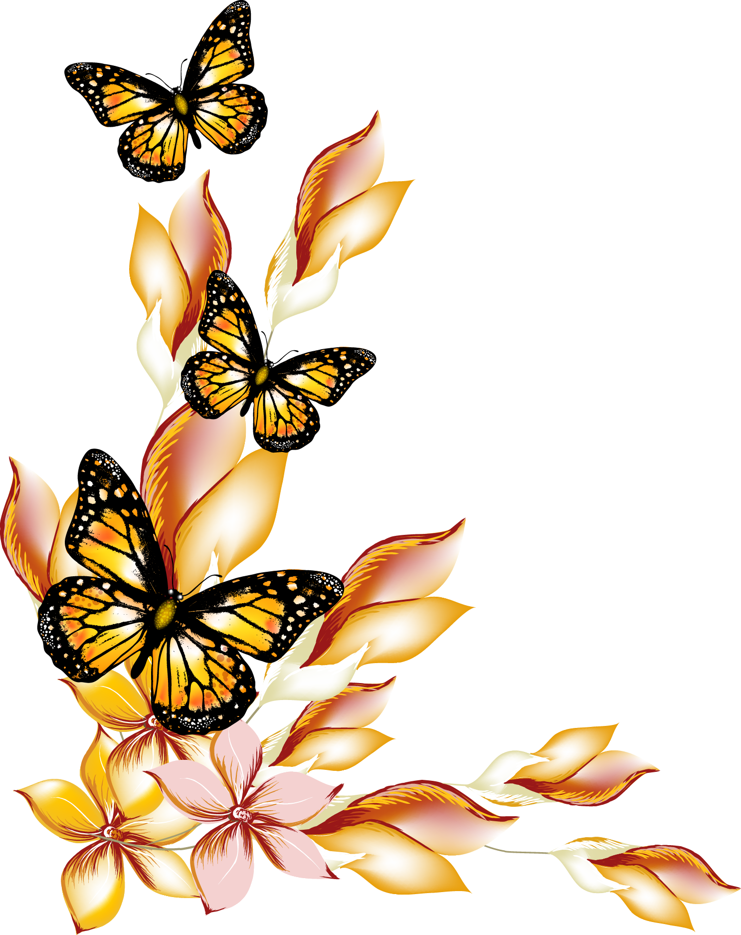 Butterfly And Flower Butterflies Vector Borders Flowers PNG Image