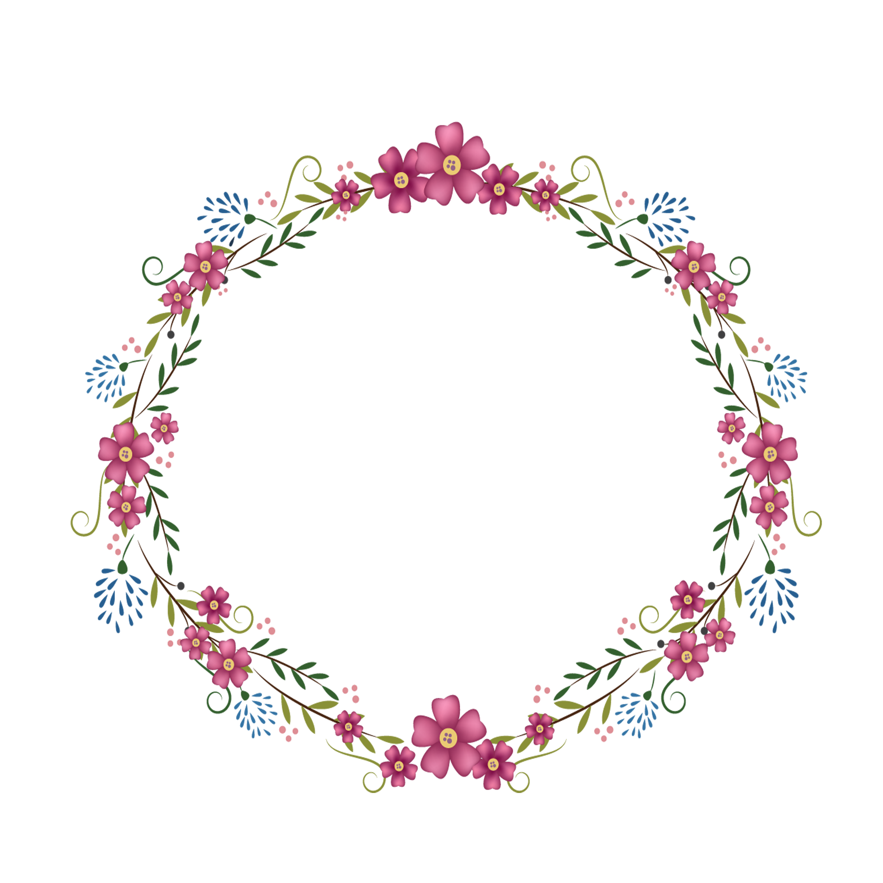 Frame Flowers Round Free Clipart HD PNG Image