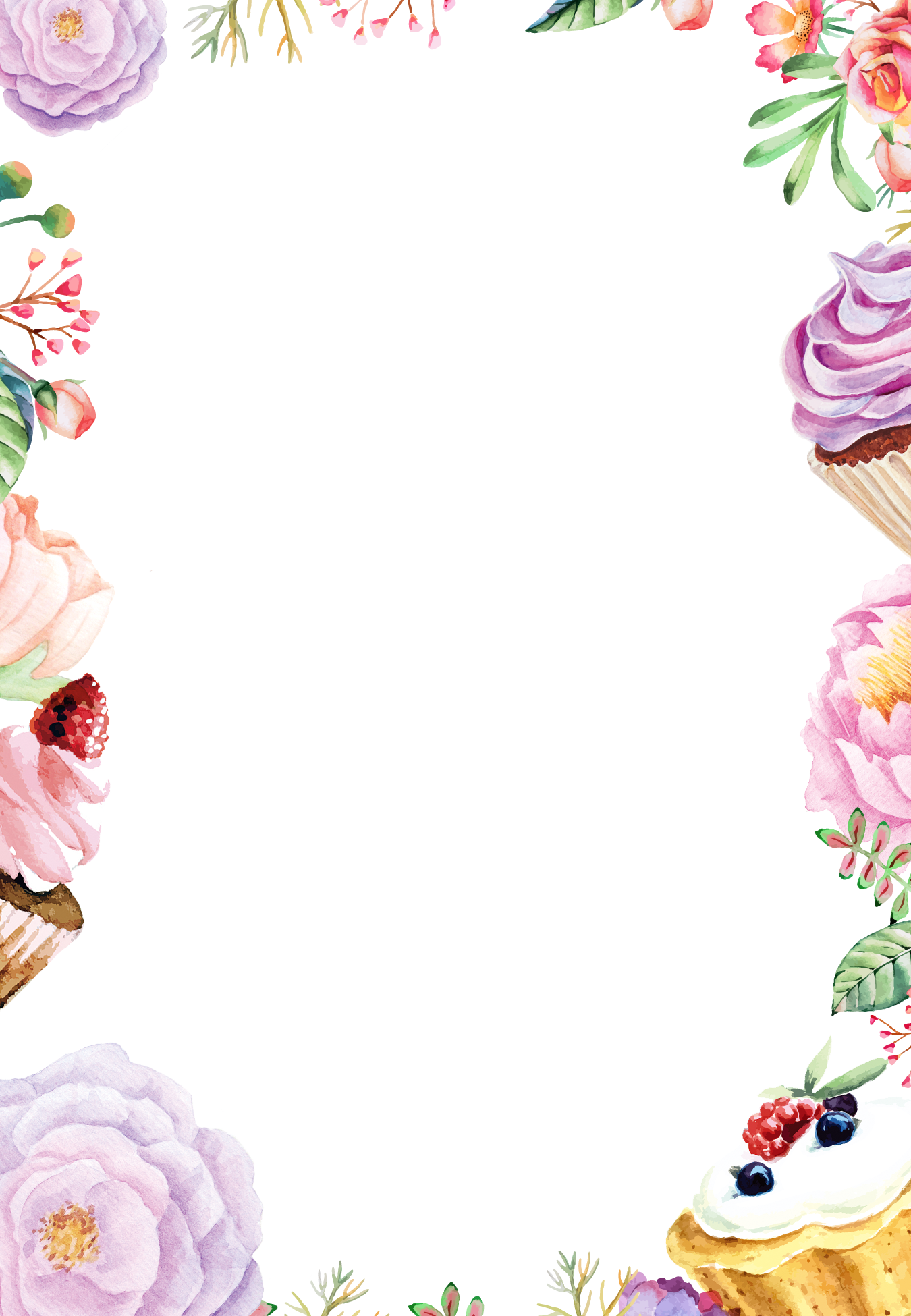 Flower Painting Watercolor Cake Flowers Border Drawing PNG Image